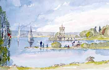 A large picture of Normanton Church and Rutland Water